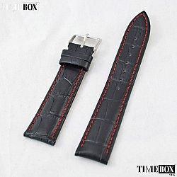 Кожена каишка 20мм за мъжки часовник черен 052
