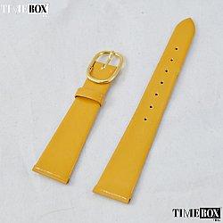 Кожена каишка 14мм за дамски часовник жълт 107